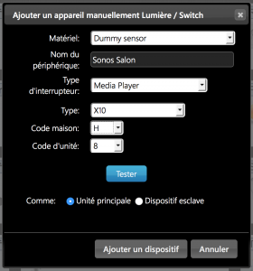 Configuration d'un bouton Media Player